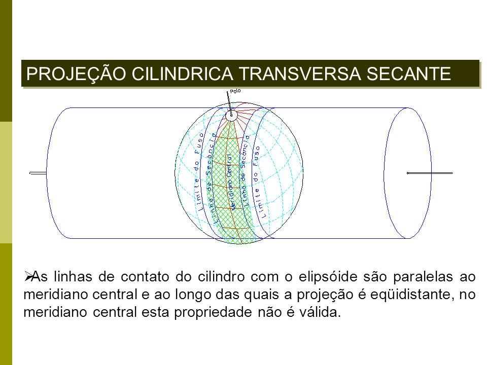 PROJEÇÃO CILINDRICA TRANSVERSA SECANTE As linhas de contato do cilindro com o elipsóide são paralelas ao meridiano central e ao longo das quais a proj
