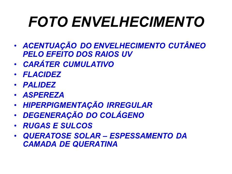 FOTO ENVELHECIMENTO ACENTUAÇÃO DO ENVELHECIMENTO CUTÂNEO PELO EFEITO DOS RAIOS UV CARÁTER CUMULATIVO FLACIDEZ PALIDEZ ASPEREZA HIPERPIGMENTAÇÃO IRREGULAR DEGENERAÇÃO DO COLÁGENO RUGAS E SULCOS QUERATOSE SOLAR – ESPESSAMENTO DA CAMADA DE QUERATINA