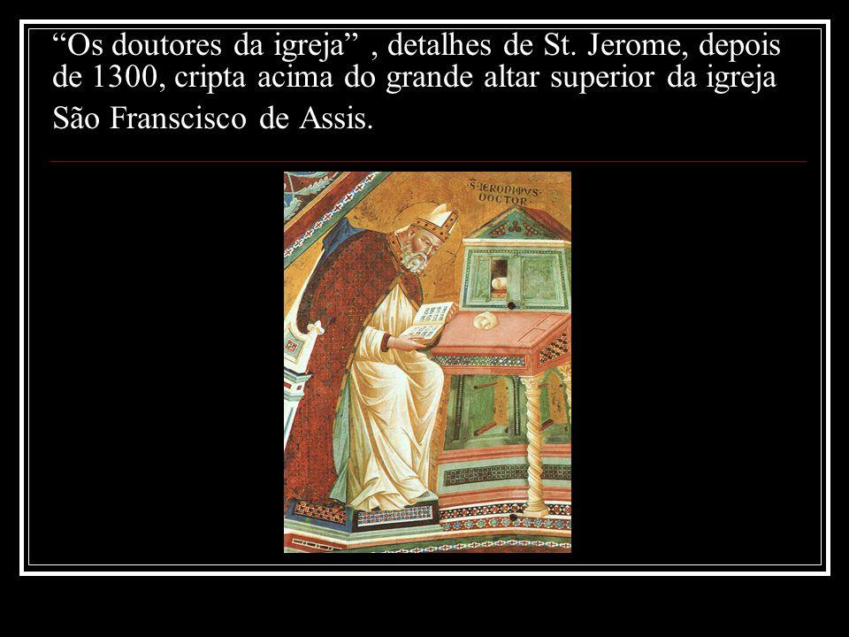 Os doutores da igreja, detalhes de St. Jerome, depois de 1300, cripta acima do grande altar superior da igreja São Franscisco de Assis.