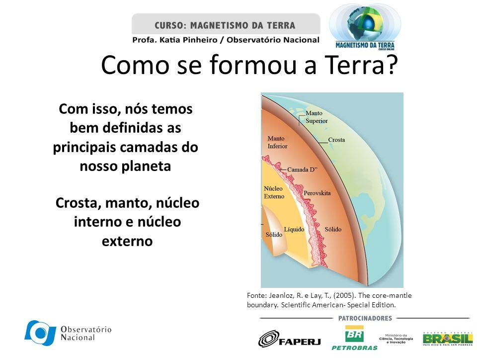 Com isso, nós temos bem definidas as principais camadas do nosso planeta Crosta, manto, núcleo interno e núcleo externo Fonte: Jeanloz, R. e Lay, T.,