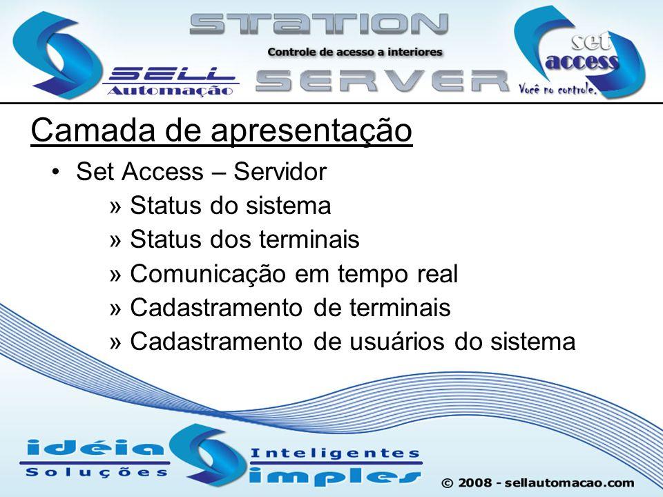 Set Access – Servidor » Status do sistema » Status dos terminais » Comunicação em tempo real » Cadastramento de terminais » Cadastramento de usuários
