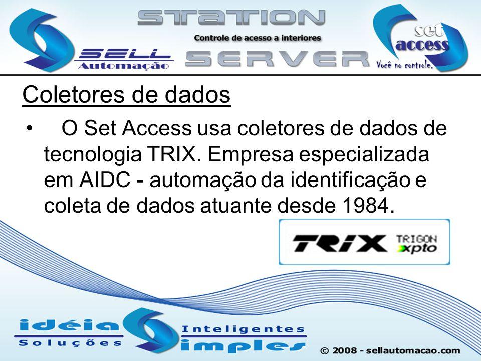 Coletores de dados O Set Access usa coletores de dados de tecnologia TRIX. Empresa especializada em AIDC - automação da identificação e coleta de dado