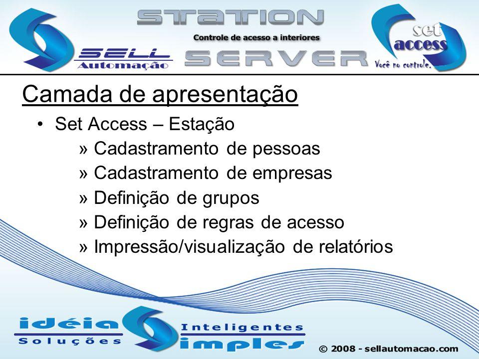 Camada de apresentação Set Access – Estação » Cadastramento de pessoas » Cadastramento de empresas » Definição de grupos » Definição de regras de aces
