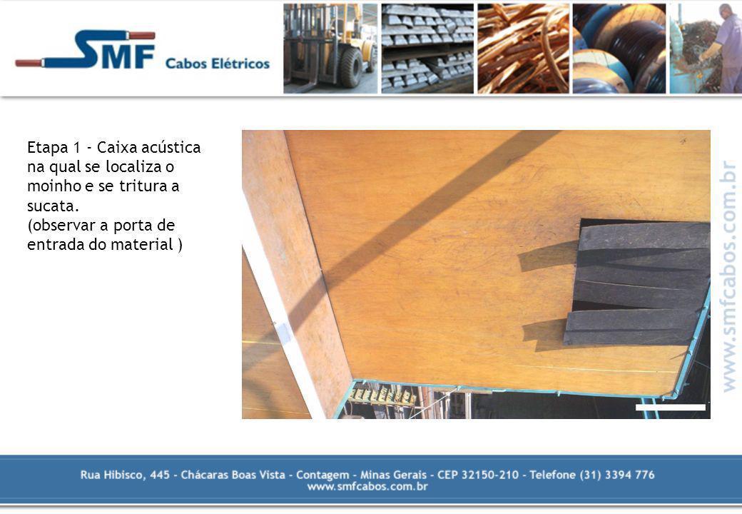 Etapa 1 - Caixa acústica na qual se localiza o moinho e se tritura a sucata. (observar a porta de entrada do material )
