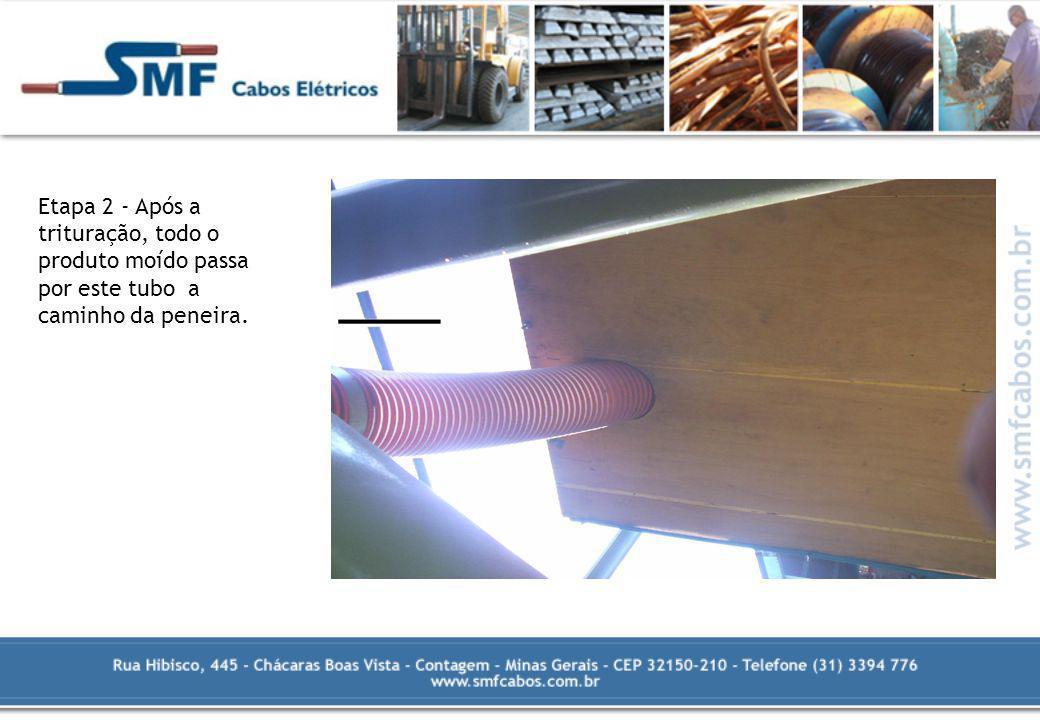 Etapa 3 – Depois de passar pelo tubo, o material triturado chega até esta peneira (bandeja) vibratória de madeira, onde utilizando água e a vibração da bandeja, é possível separar o cobre (ou alumínio) do pvc.