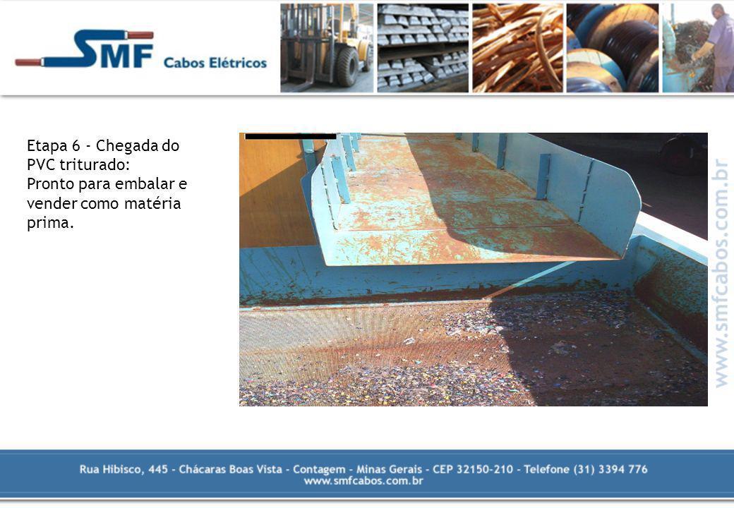 Etapa 6 - Chegada do PVC triturado: Pronto para embalar e vender como matéria prima.