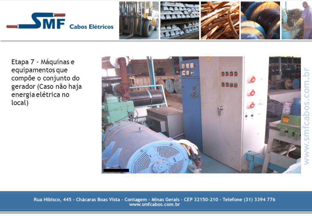 Etapa 7 - Máquinas e equipamentos que compõe o conjunto do gerador (Caso não haja energia elétrica no local)