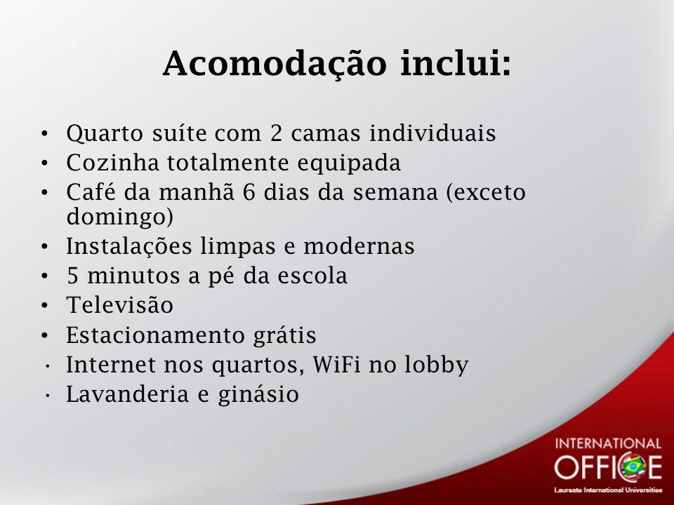 Acomodação inclui: Quarto suíte com 2 camas individuais Cozinha totalmente equipada Café da manhã 6 dias da semana (exceto domingo) Instalações limpas