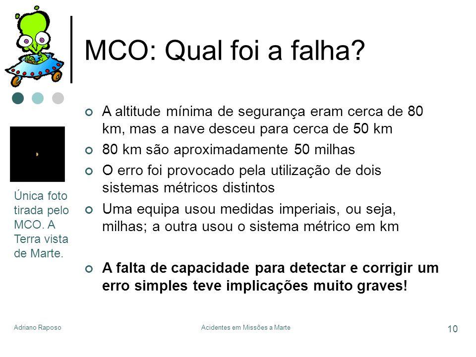 Adriano RaposoAcidentes em Missões a Marte 10 MCO: Qual foi a falha? A altitude mínima de segurança eram cerca de 80 km, mas a nave desceu para cerca