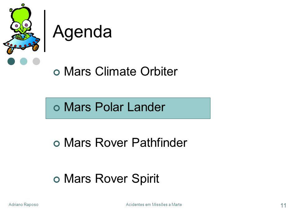 Adriano RaposoAcidentes em Missões a Marte 11 Agenda Mars Climate Orbiter Mars Polar Lander Mars Rover Pathfinder Mars Rover Spirit