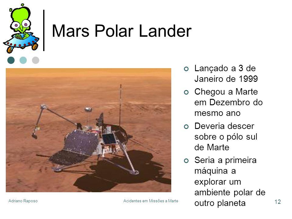 Adriano RaposoAcidentes em Missões a Marte 12 Mars Polar Lander Lançado a 3 de Janeiro de 1999 Chegou a Marte em Dezembro do mesmo ano Deveria descer