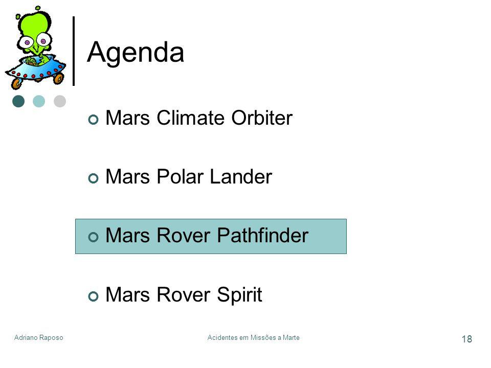 Adriano RaposoAcidentes em Missões a Marte 18 Agenda Mars Climate Orbiter Mars Polar Lander Mars Rover Pathfinder Mars Rover Spirit