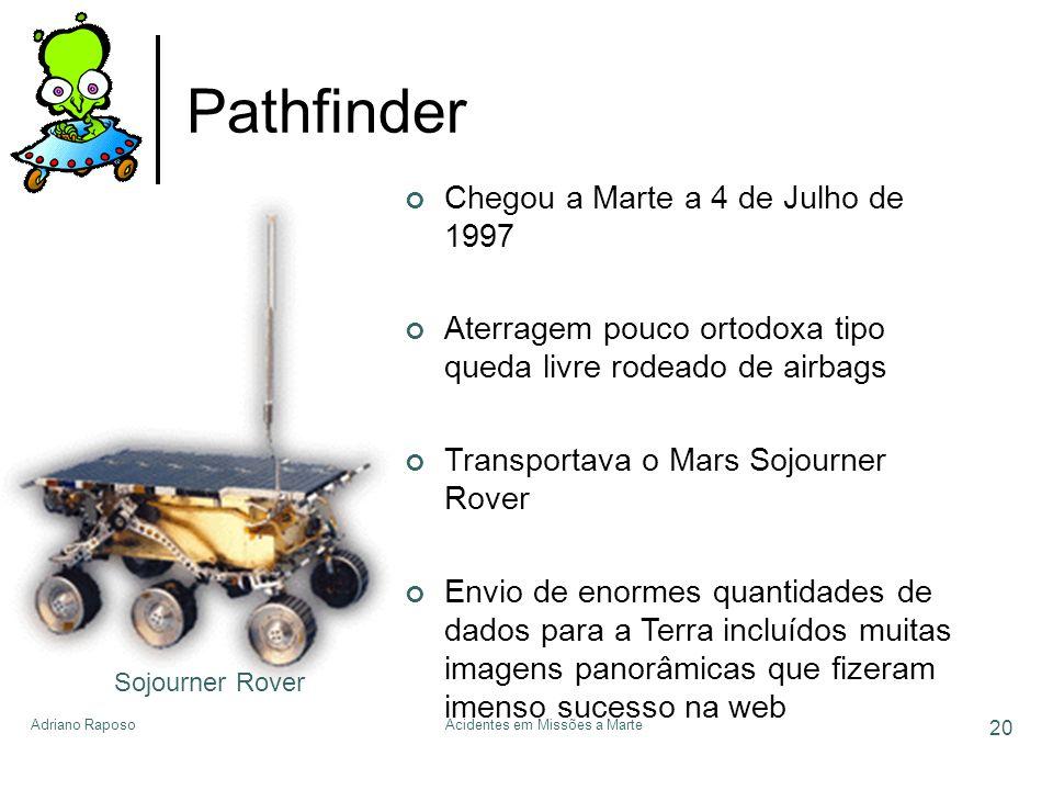 Adriano RaposoAcidentes em Missões a Marte 20 Pathfinder Sojourner Rover Chegou a Marte a 4 de Julho de 1997 Aterragem pouco ortodoxa tipo queda livre