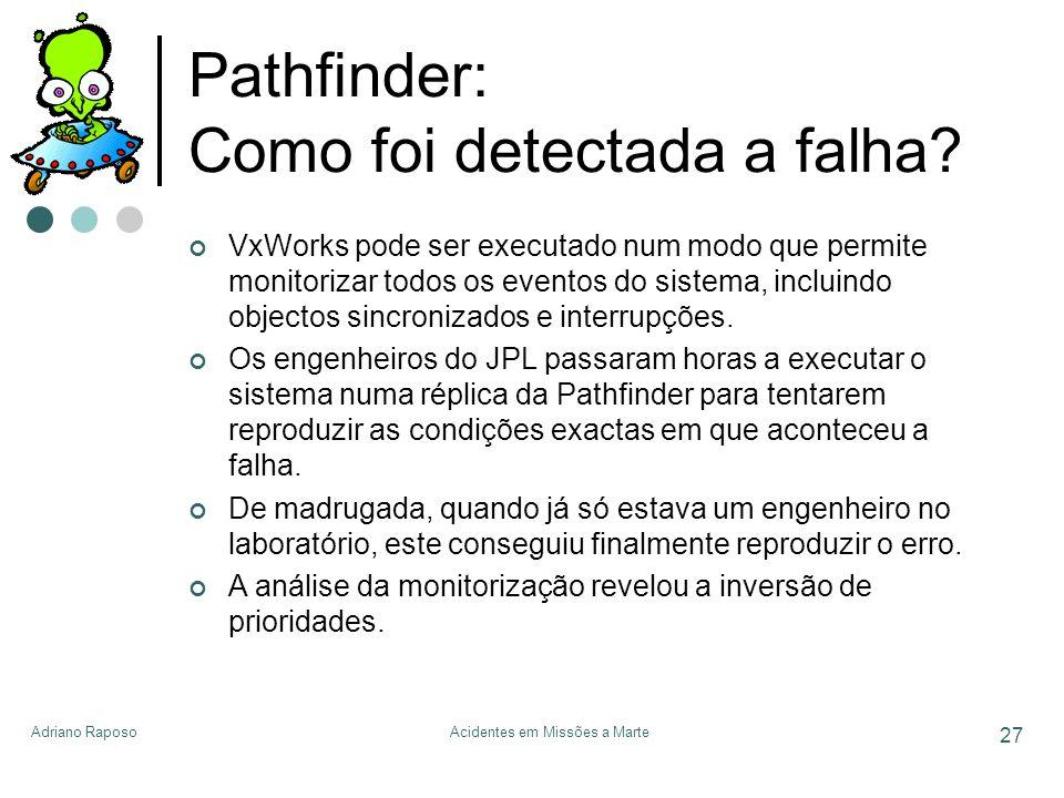 Adriano RaposoAcidentes em Missões a Marte 27 Pathfinder: Como foi detectada a falha? VxWorks pode ser executado num modo que permite monitorizar todo