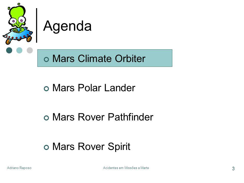 Adriano RaposoAcidentes em Missões a Marte 3 Agenda Mars Climate Orbiter Mars Polar Lander Mars Rover Pathfinder Mars Rover Spirit