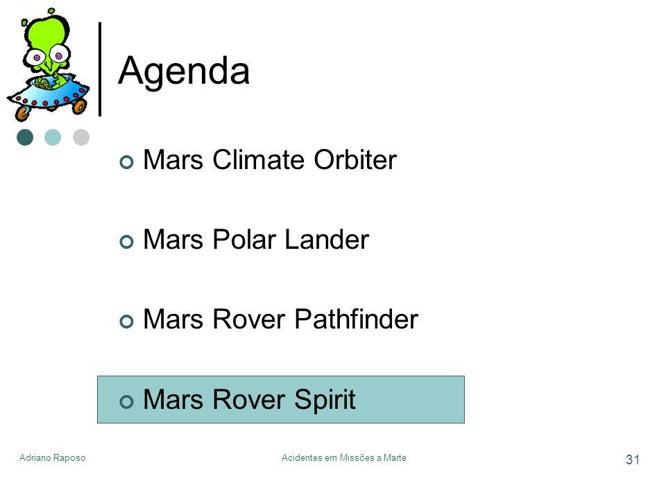 Adriano RaposoAcidentes em Missões a Marte 31 Agenda Mars Climate Orbiter Mars Polar Lander Mars Rover Pathfinder Mars Rover Spirit