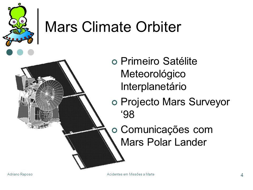 Adriano RaposoAcidentes em Missões a Marte 4 Mars Climate Orbiter Primeiro Satélite Meteorológico Interplanetário Projecto Mars Surveyor 98 Comunicaçõ
