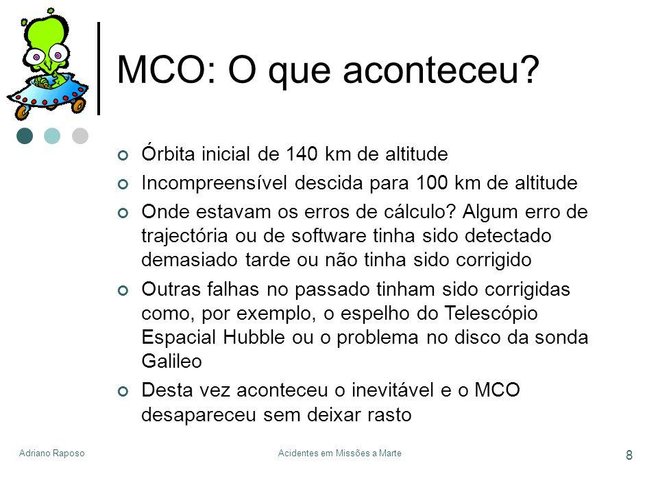 Adriano RaposoAcidentes em Missões a Marte 8 MCO: O que aconteceu? Órbita inicial de 140 km de altitude Incompreensível descida para 100 km de altitud