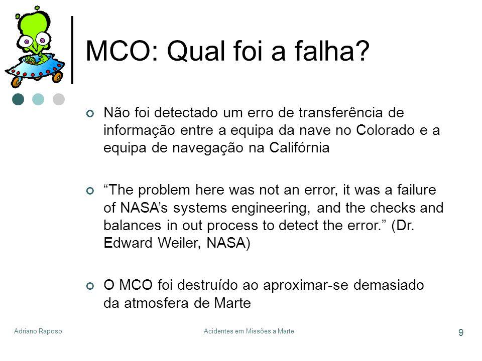 Adriano RaposoAcidentes em Missões a Marte 9 MCO: Qual foi a falha? Não foi detectado um erro de transferência de informação entre a equipa da nave no