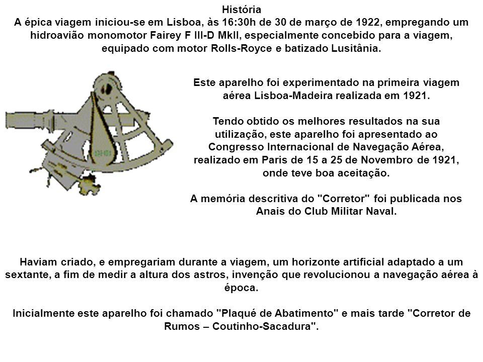 A primeira travessia aérea do Atlântico Sul foi concluída com sucesso pelos aeronautas portugueses Gago Coutinho e Sacadura Cabral, em 1922, no contexto das comemorações do Primeiro Centenário da Independência do Brasil.