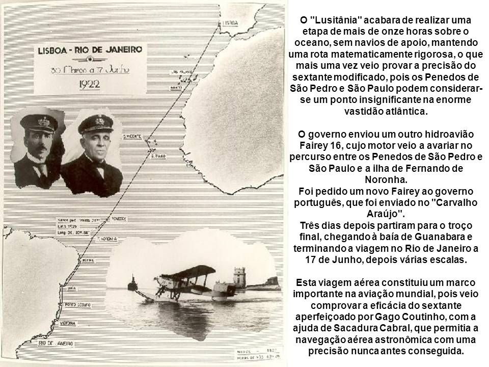 Gago Coutinho (dir.) e Sacadura Cabral - esq. a bordo do Lusitânia 1922.