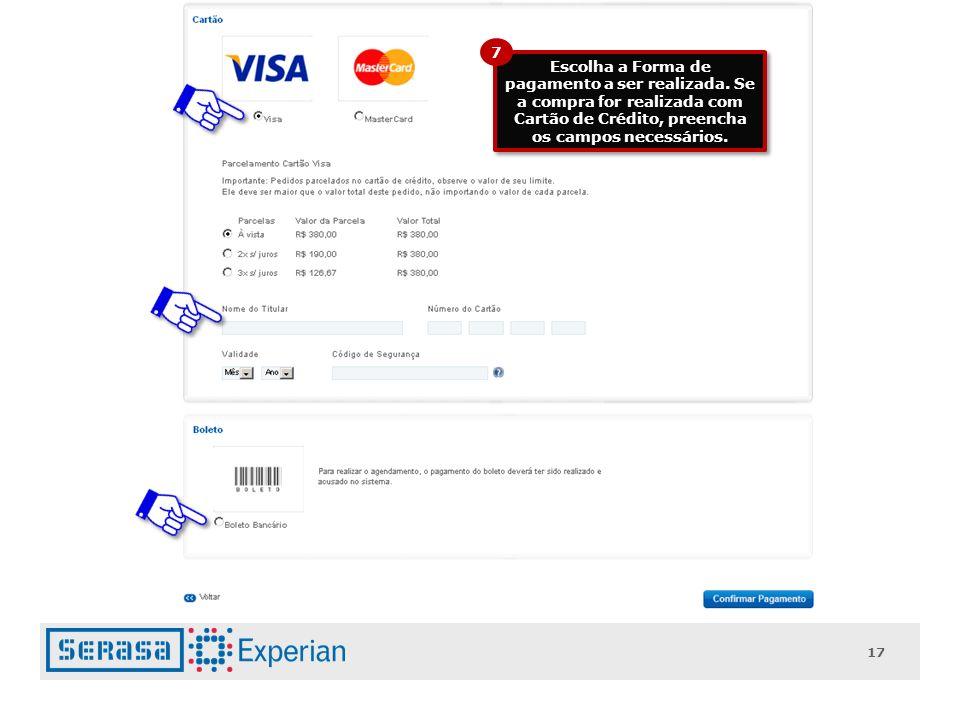 17 Escolha a Forma de pagamento a ser realizada.