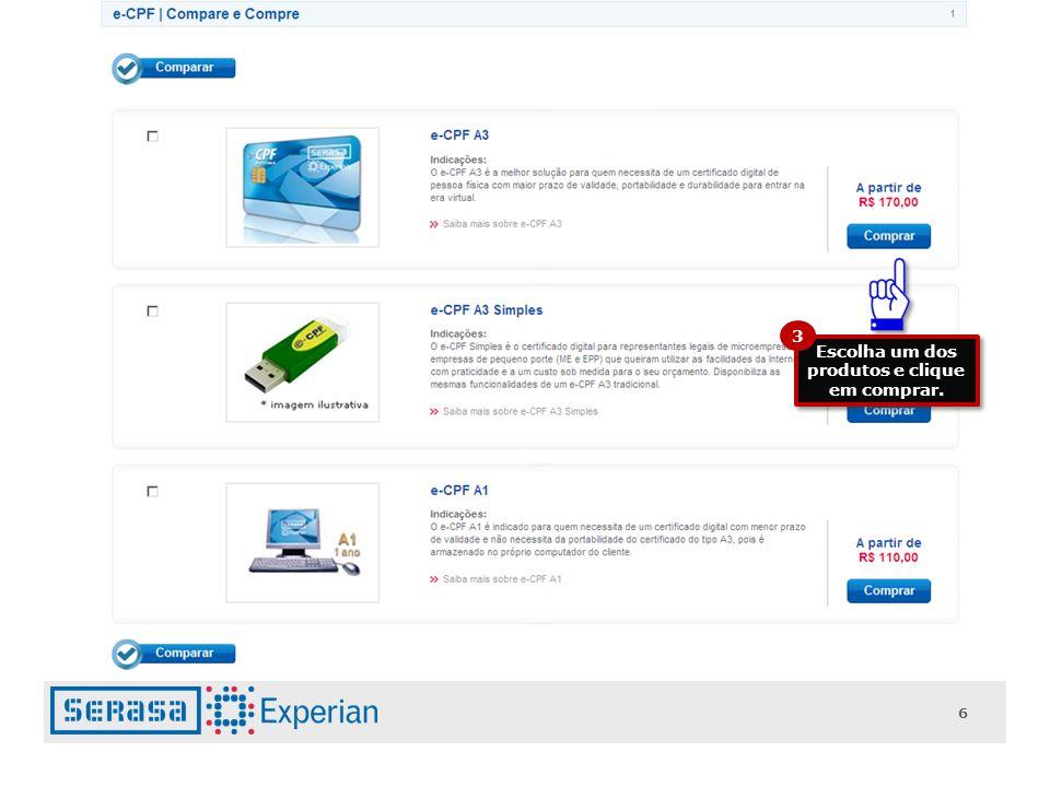 6 Escolha um dos produtos e clique em comprar. 3