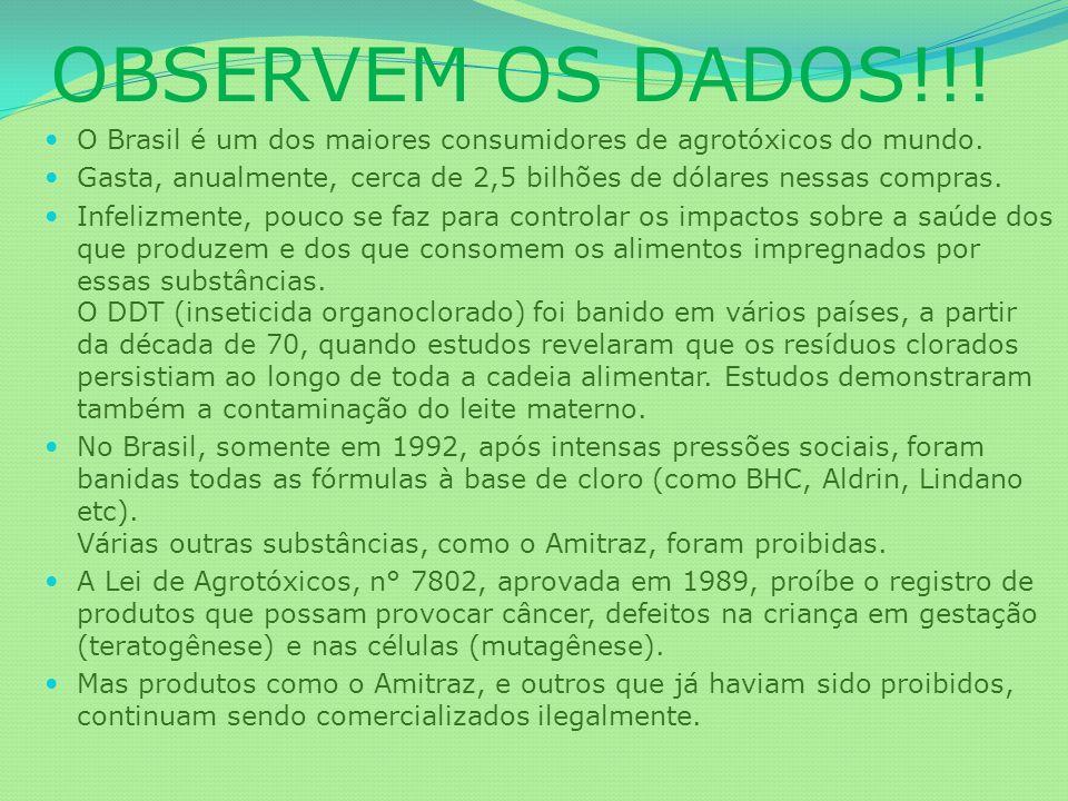 OBSERVEM OS DADOS!!! O Brasil é um dos maiores consumidores de agrotóxicos do mundo. Gasta, anualmente, cerca de 2,5 bilhões de dólares nessas compras