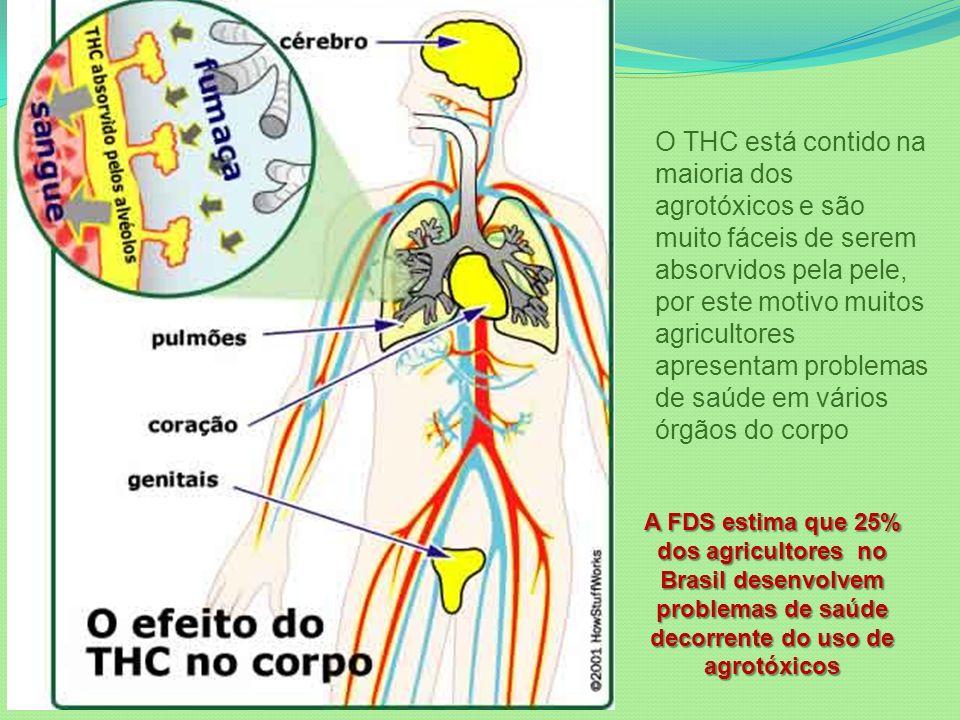 O THC está contido na maioria dos agrotóxicos e são muito fáceis de serem absorvidos pela pele, por este motivo muitos agricultores apresentam problemas de saúde em vários órgãos do corpo A FDS estima que 25% dos agricultores no Brasil desenvolvem problemas de saúde decorrente do uso de agrotóxicos