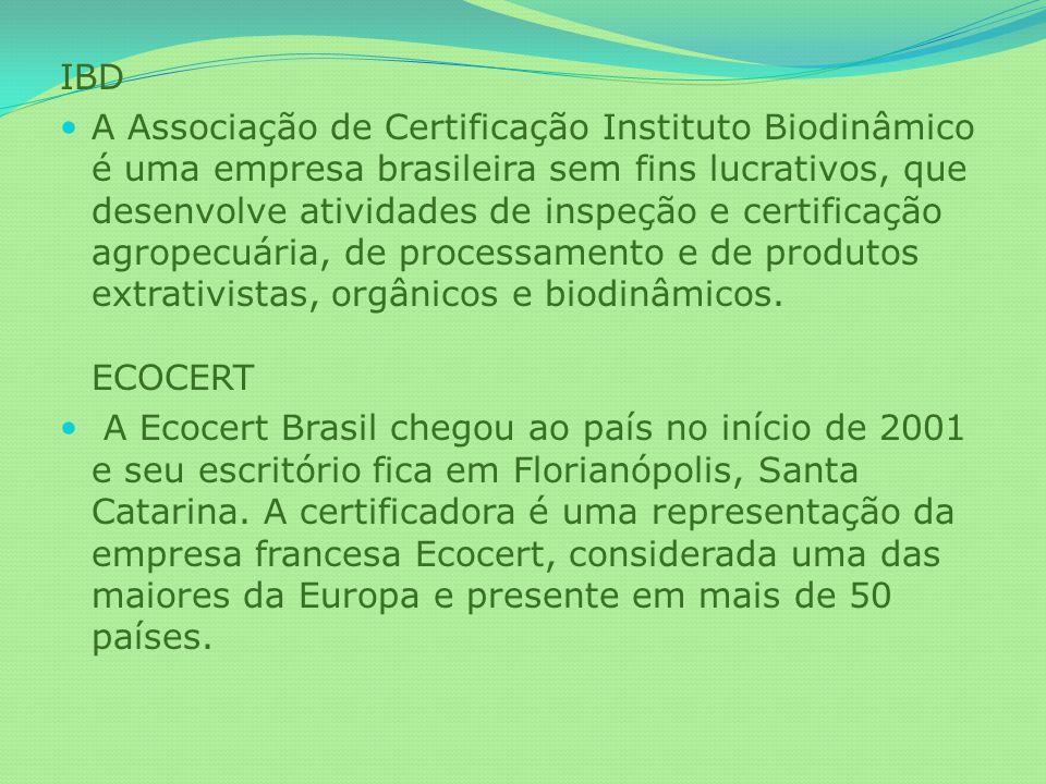 IBD A Associação de Certificação Instituto Biodinâmico é uma empresa brasileira sem fins lucrativos, que desenvolve atividades de inspeção e certifica