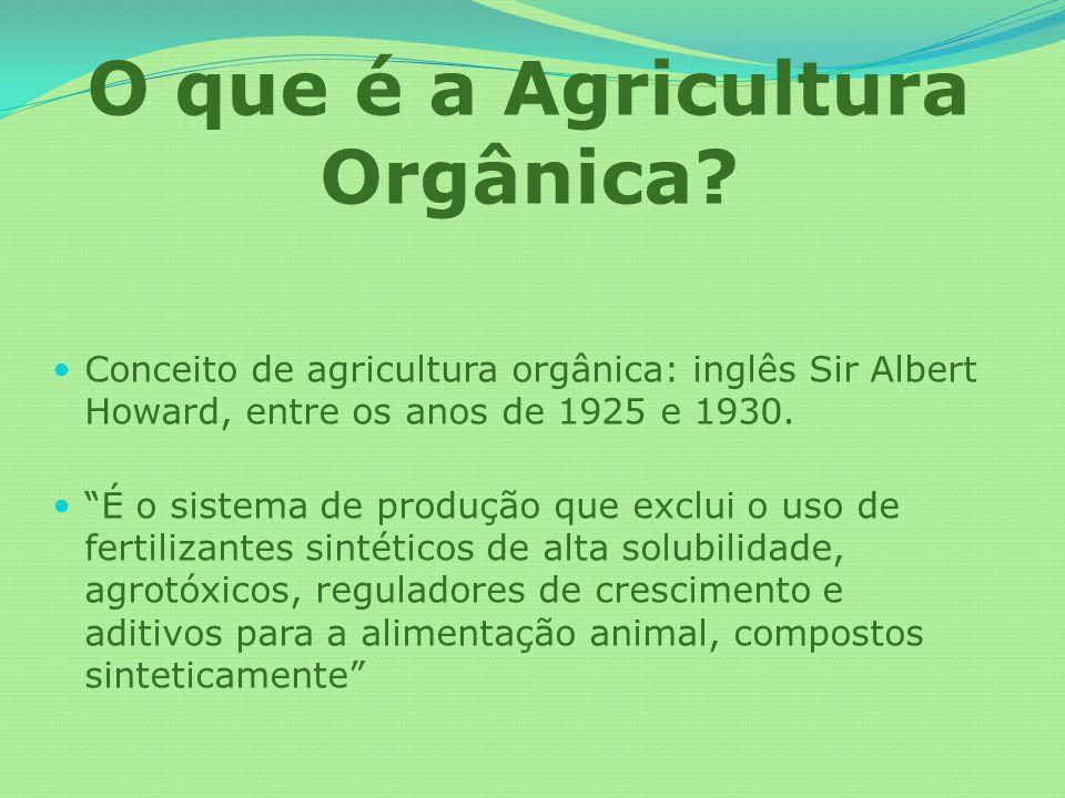 O que é a Agricultura Orgânica? Conceito de agricultura orgânica: inglês Sir Albert Howard, entre os anos de 1925 e 1930. É o sistema de produção que