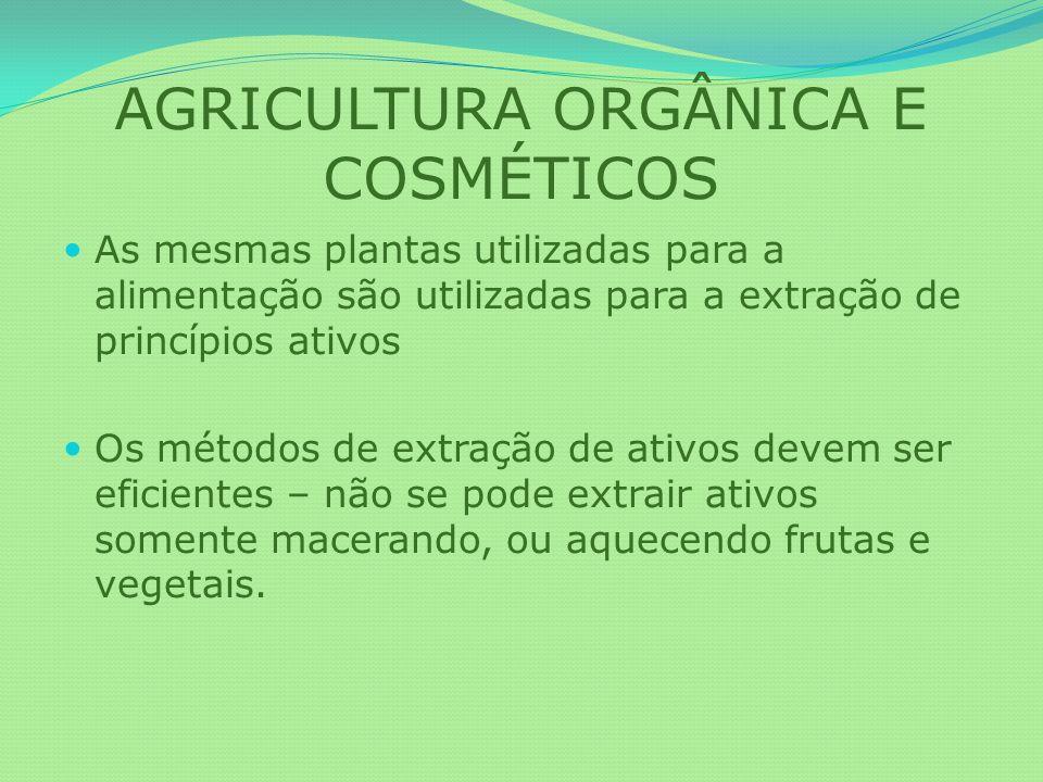 AGRICULTURA ORGÂNICA E COSMÉTICOS As mesmas plantas utilizadas para a alimentação são utilizadas para a extração de princípios ativos Os métodos de ex