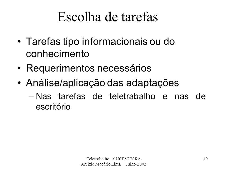 Teletrabalho SUCESU/CRA Aluizio Macário Lima Julho/2002 10 Escolha de tarefas Tarefas tipo informacionais ou do conhecimento Requerimentos necessários