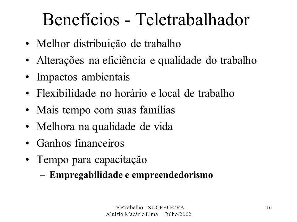Teletrabalho SUCESU/CRA Aluizio Macário Lima Julho/2002 16 Benefícios - Teletrabalhador Melhor distribuição de trabalho Alterações na eficiência e qua