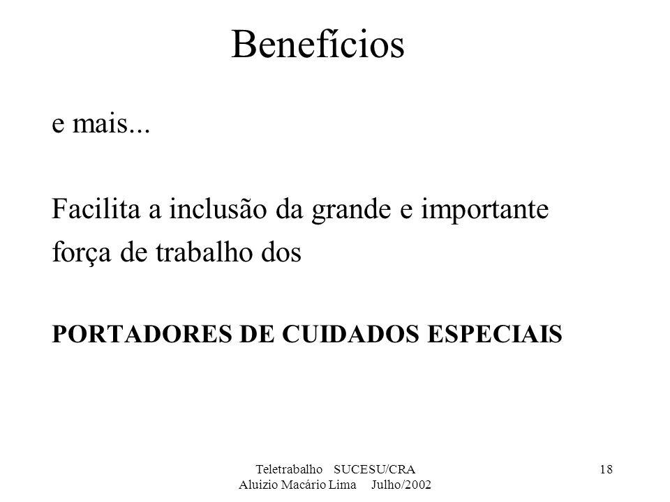 Teletrabalho SUCESU/CRA Aluizio Macário Lima Julho/2002 18 Benefícios e mais... Facilita a inclusão da grande e importante força de trabalho dos PORTA