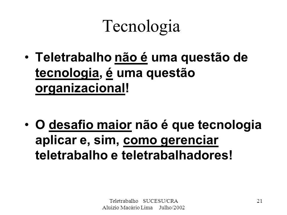 Teletrabalho SUCESU/CRA Aluizio Macário Lima Julho/2002 21 Tecnologia Teletrabalho não é uma questão de tecnologia, é uma questão organizacional! O de