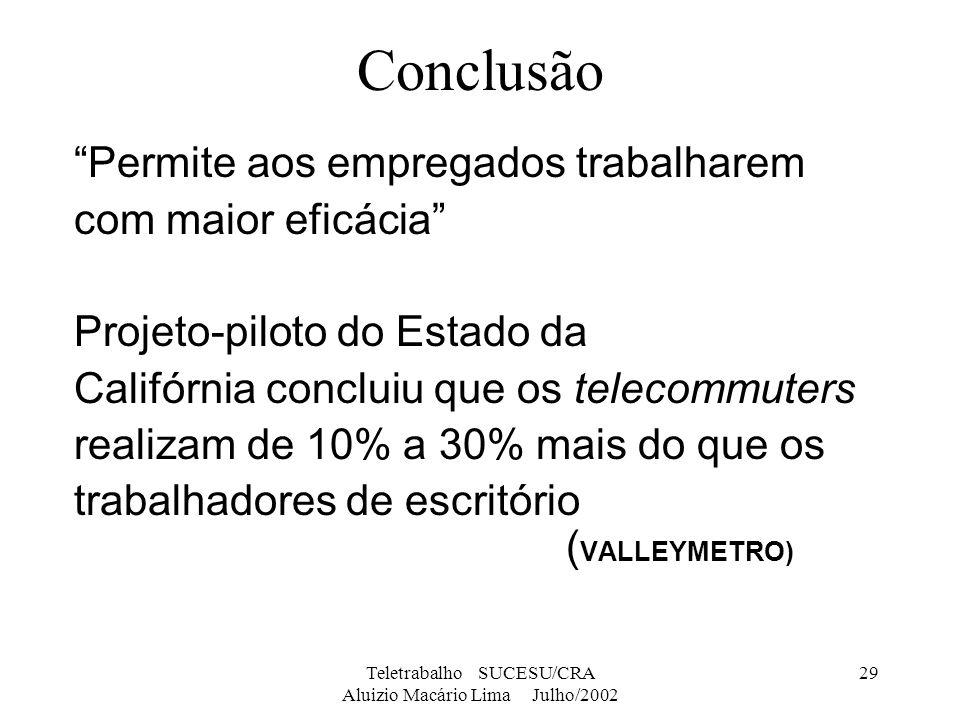 Teletrabalho SUCESU/CRA Aluizio Macário Lima Julho/2002 29 Conclusão Permite aos empregados trabalharem com maior eficácia Projeto-piloto do Estado da