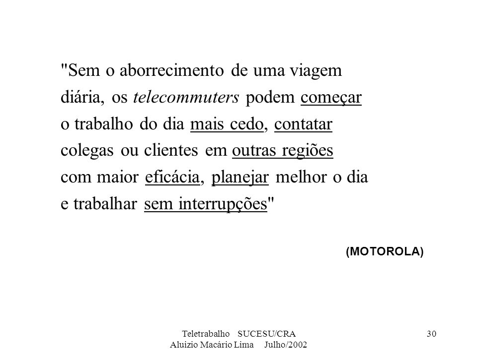 Teletrabalho SUCESU/CRA Aluizio Macário Lima Julho/2002 30