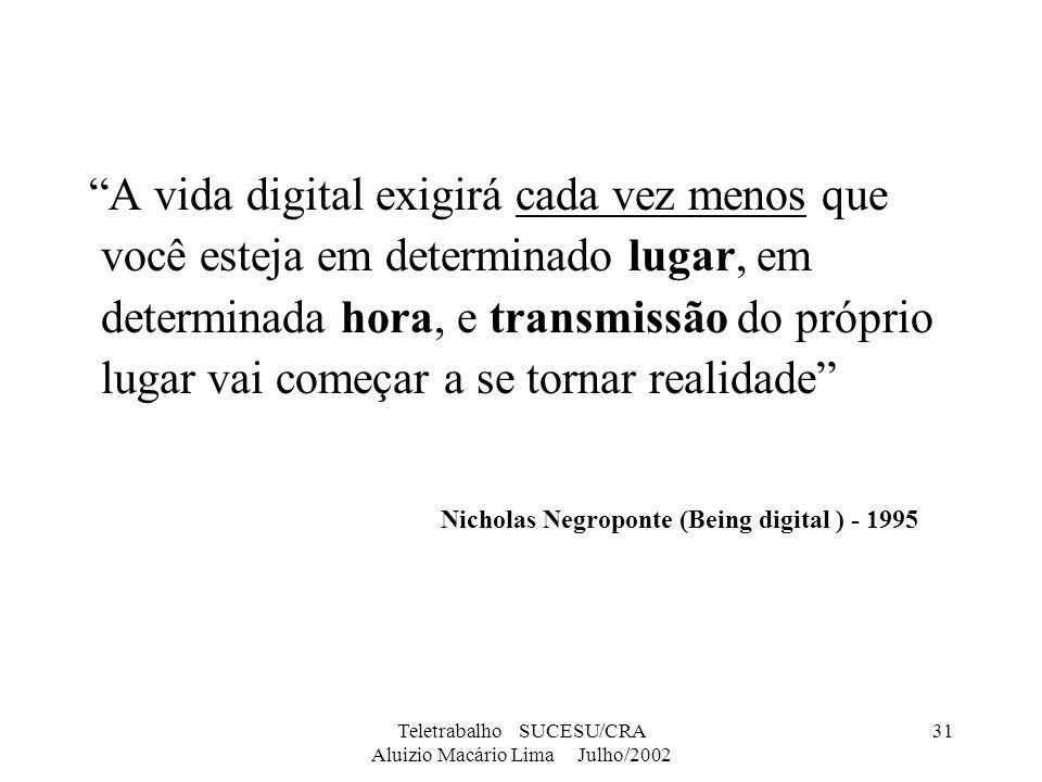 Teletrabalho SUCESU/CRA Aluizio Macário Lima Julho/2002 31 A vida digital exigirá cada vez menos que você esteja em determinado lugar, em determinada