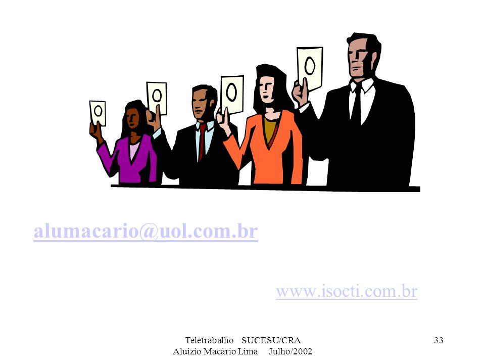 Teletrabalho SUCESU/CRA Aluizio Macário Lima Julho/2002 33 alumacario@uol.com.br www.isocti.com.br