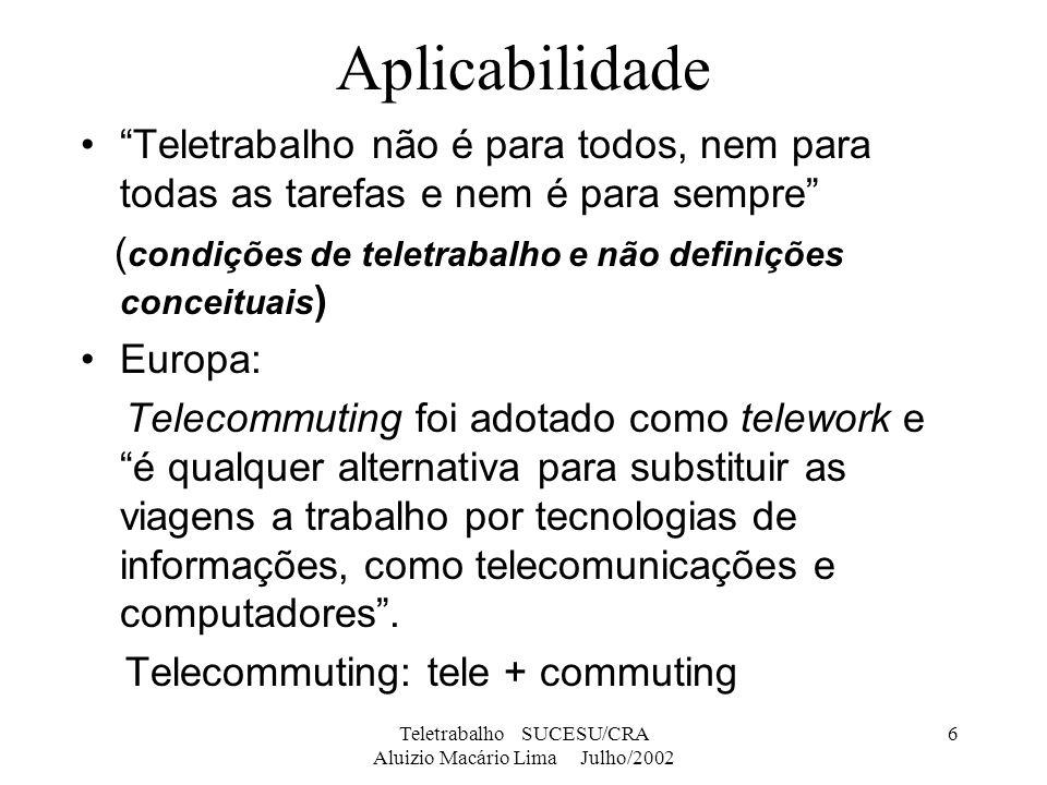 Teletrabalho SUCESU/CRA Aluizio Macário Lima Julho/2002 6 Aplicabilidade Teletrabalho não é para todos, nem para todas as tarefas e nem é para sempre