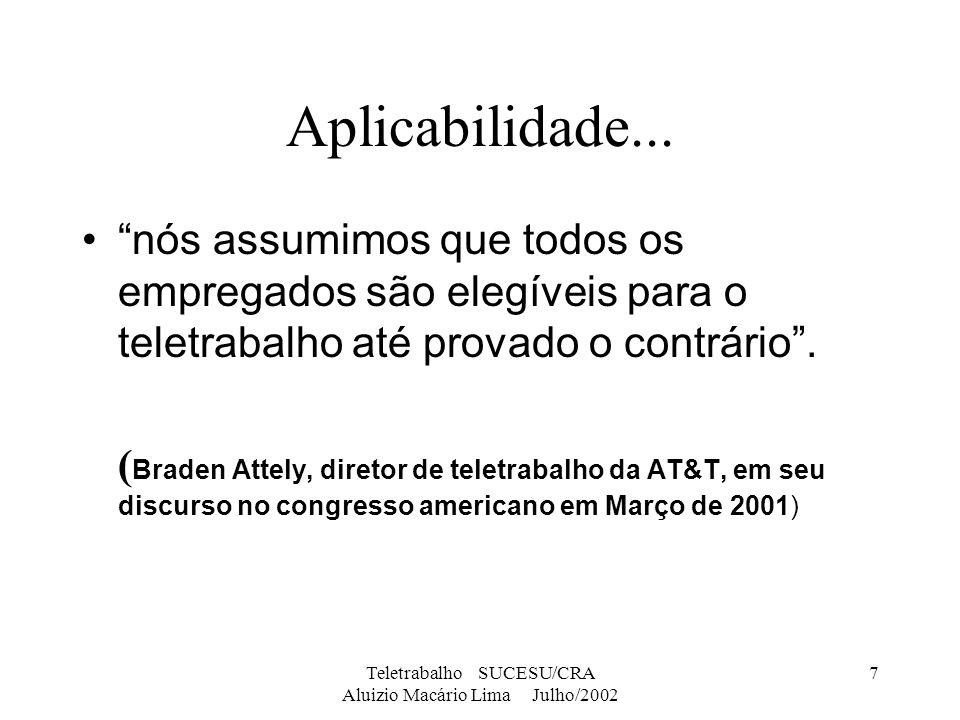 Teletrabalho SUCESU/CRA Aluizio Macário Lima Julho/2002 7 Aplicabilidade... nós assumimos que todos os empregados são elegíveis para o teletrabalho at