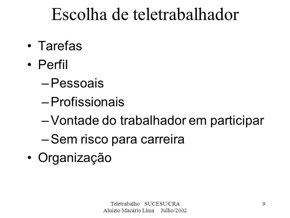 Teletrabalho SUCESU/CRA Aluizio Macário Lima Julho/2002 10 Escolha de tarefas Tarefas tipo informacionais ou do conhecimento Requerimentos necessários Análise/aplicação das adaptações –Nas tarefas de teletrabalho e nas de escritório