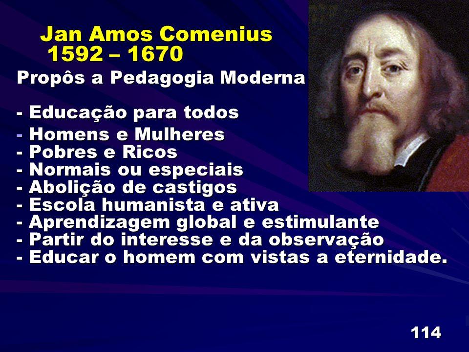 114 Jan Amos Comenius 1592 – 1670 Propôs a Pedagogia Moderna - Educação para todos - Homens e Mulheres - Pobres e Ricos - Normais ou especiais - Aboli