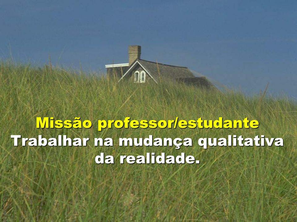 18 Missão professor/estudante Trabalhar na mudança qualitativa da realidade.