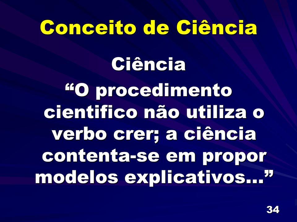 34 Conceito de Ciência Ciência O procedimento cientifico não utiliza o verbo crer; a ciência contenta-se em propor modelos explicativos...