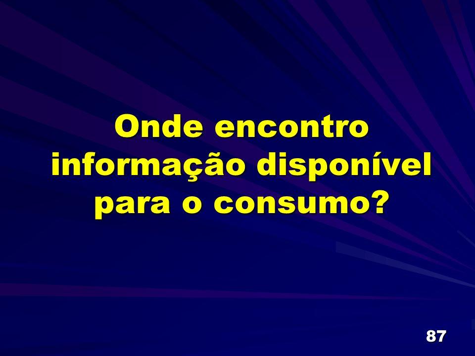 87 Onde encontro informação disponível para o consumo?