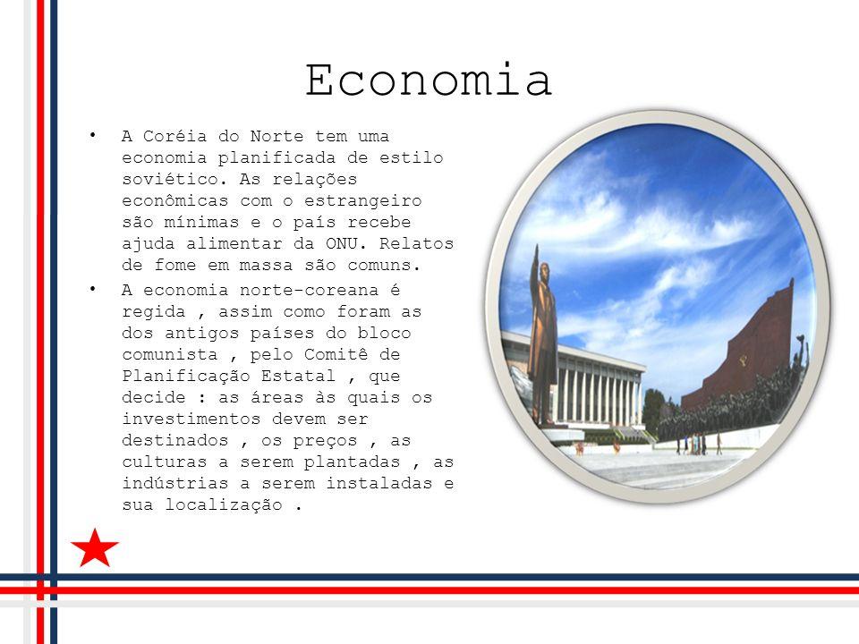 Economia A Coréia do Norte tem uma economia planificada de estilo soviético. As relações econômicas com o estrangeiro são mínimas e o país recebe ajud