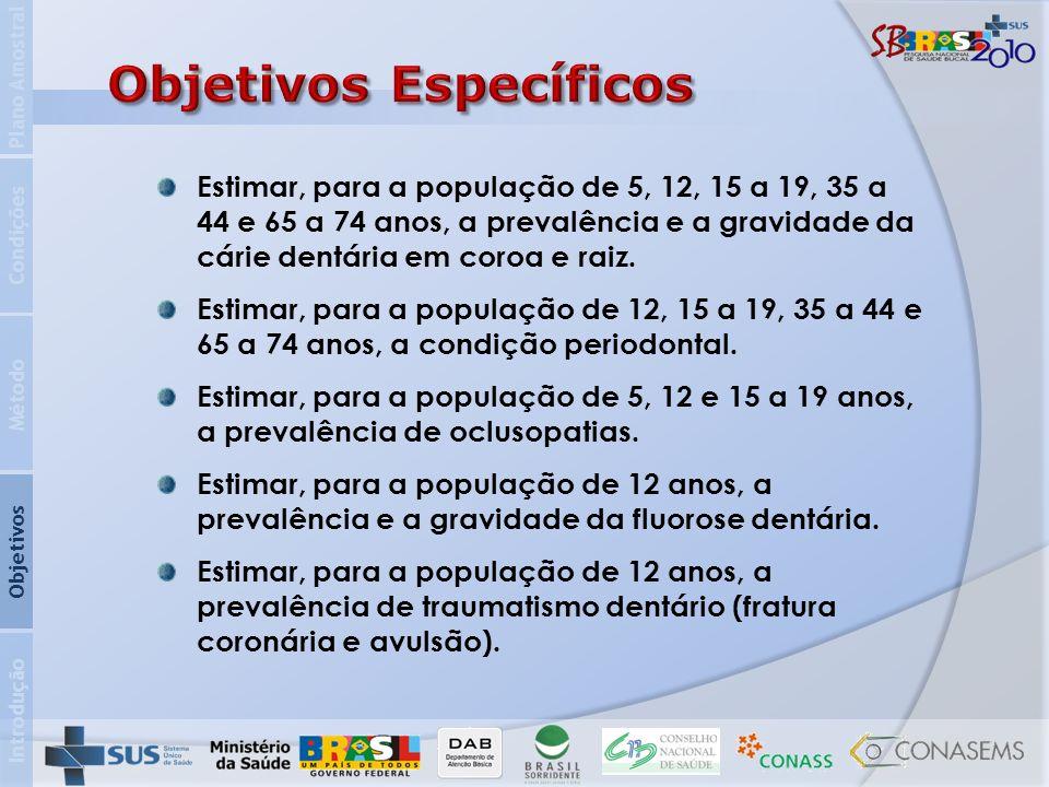 Introdução Objetivos Método Condições Plano Amostral Estimar, para a população de 5, 12, 15 a 19, 35 a 44 e 65 a 74 anos, a prevalência e a gravidade