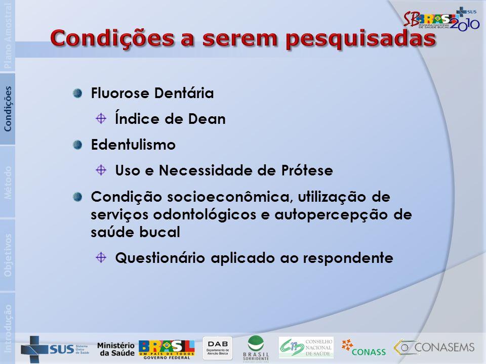 Introdução Objetivos Método Condições Plano Amostral Fluorose Dentária Índice de Dean Edentulismo Uso e Necessidade de Prótese Condição socioeconômica